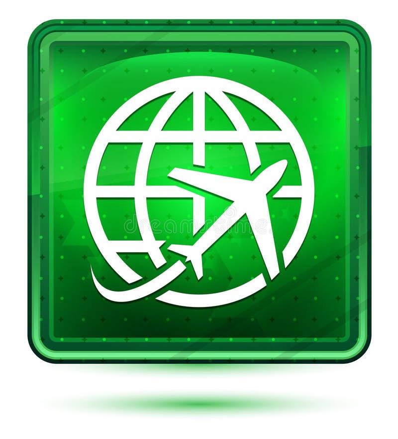 Plant ljus för världssymbolsneon - grön fyrkantig knapp royaltyfri illustrationer