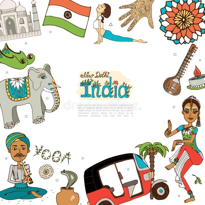 Plant lopp till den Indien mallen stock illustrationer