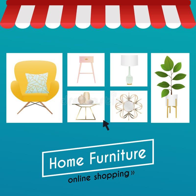 Plant möblemang och e-kommers för shopping för designbegrepp online- Ic vektor illustrationer