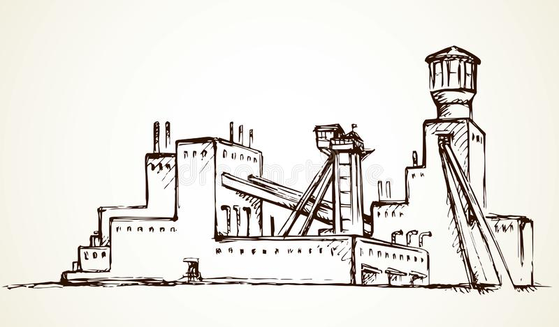 Plant at the mine. Vector drawing. Old urban big iron mineral quarry rock mine refine excavate mill work on white sky. Black outline hand drawn heavy coal carbon royalty free illustration