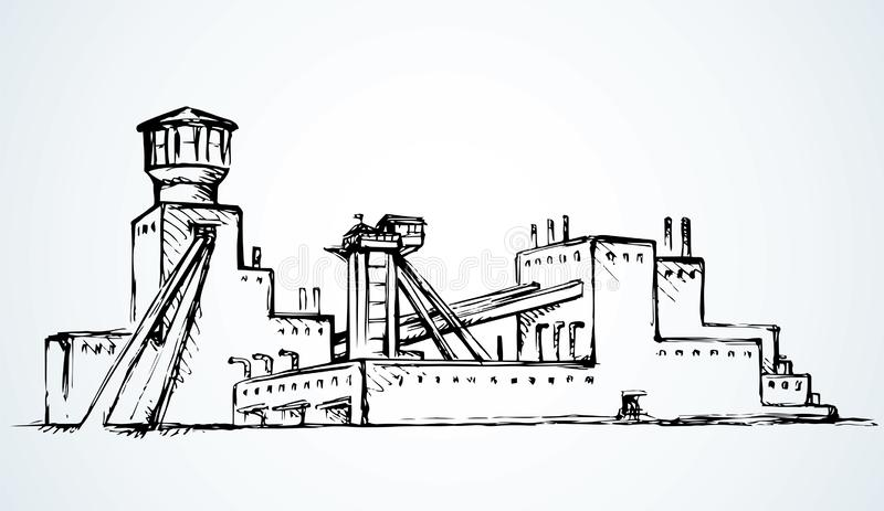 Plant at the mine. Vector drawing. Old urban big iron mineral quarry rock mine refine excavate mill work on white sky. Black outline hand drawn heavy coal carbon stock illustration