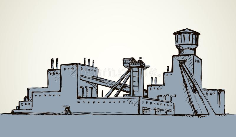 Plant at the mine. Vector drawing. Old urban big iron mineral quarry rock mine refine excavate mill work on white sky. Black outline hand drawn heavy coal carbon vector illustration
