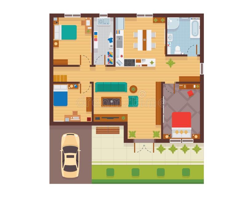 Plant modernt familjhusinre och plan för rumutrymmegolv från illustration för bästa sikt vektor illustrationer