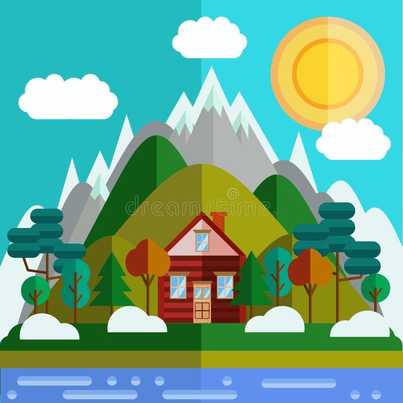 Plant mountaineslandskap stock illustrationer