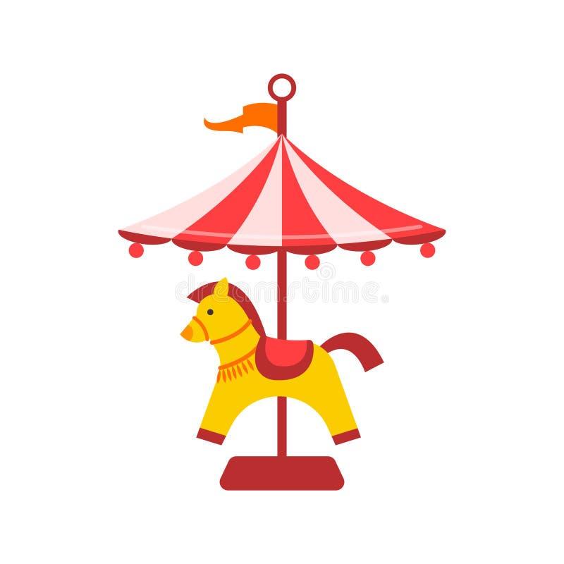 Plant nöjesfältbegrepp för vektor Glat går rundan, symbol för häst för flyg för Funfairkarnevaltappning färgad karusellen vektor illustrationer