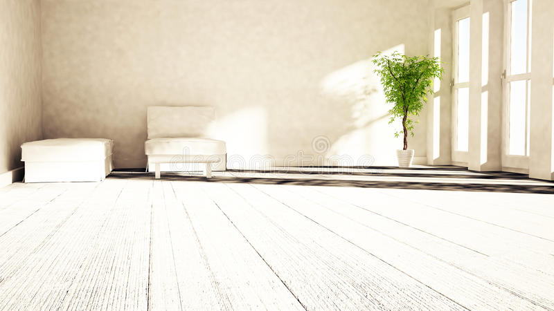 A plant near to the window stock illustration