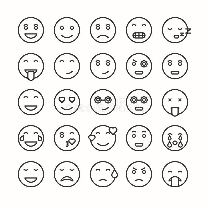 Plant och linje uppsättning för emoticonframsidasymboler stock illustrationer