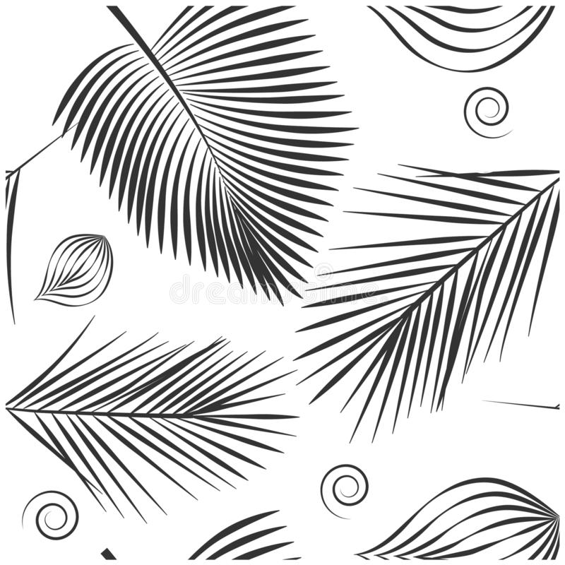 Plant pattern with palm leaves royalty free illustration