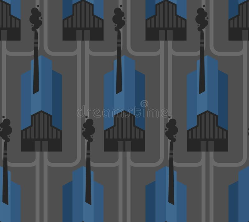 Plant pattern seamless. factory background. works texture. industrial ornament. Smoke from pipes. Environmental pollution vector illustration
