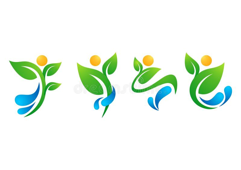 Plant, people, water, spring, natural, logo, health, sun, leaf, botany, ecology, symbol icon set design vector. Plant people water spring natural logo, health vector illustration