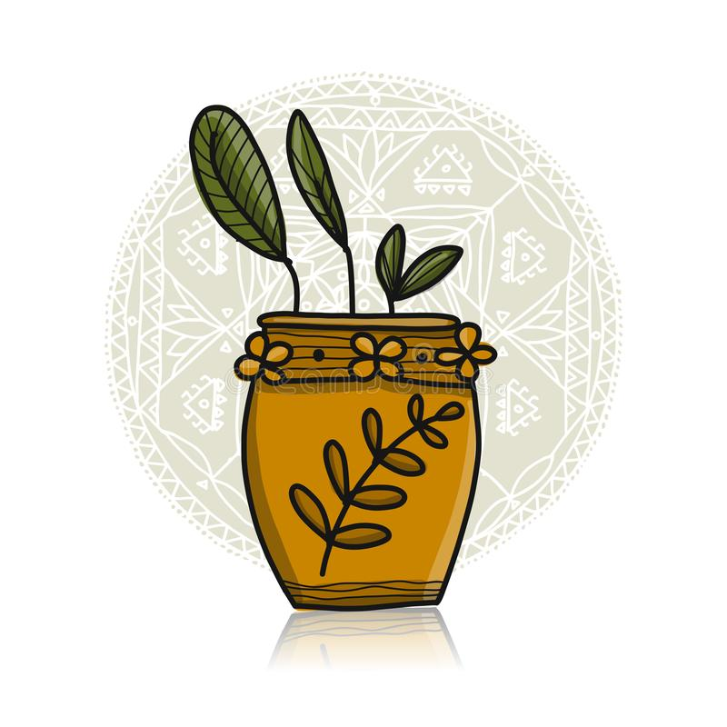 Plant in pot, asian style. Vector illustration royalty free illustration