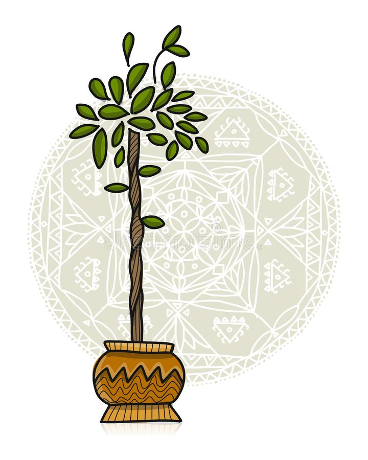 Plant in pot, asian style. Vector illustration stock illustration