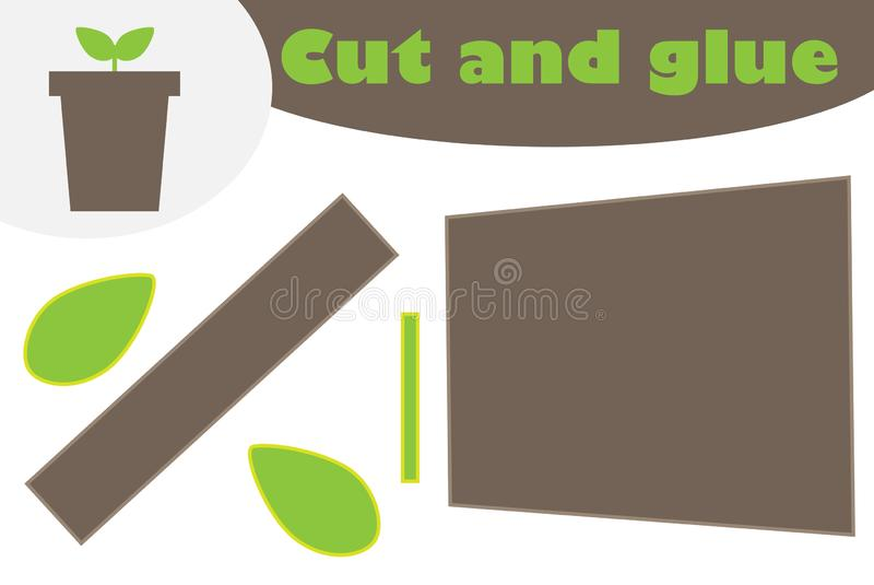 Plant in the pot cartoon, education game for the development of preschool children, use scissors and glue to create the applique,. Cut parts of the image and royalty free illustration