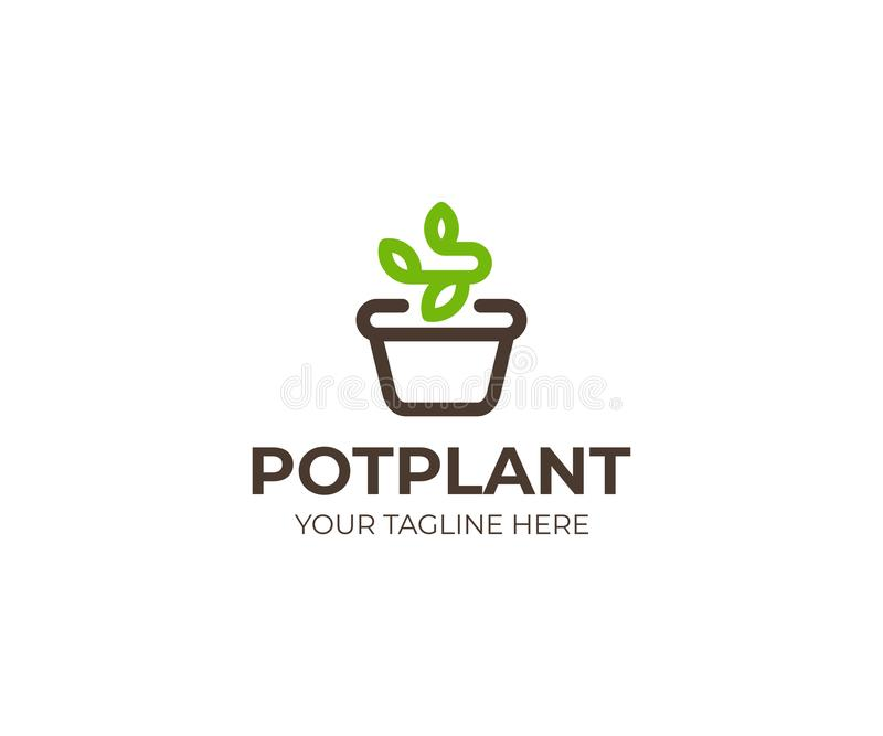 Plant in the pot logo template. Flowerpot and sprout vector design. Potted plant logotype royalty free illustration