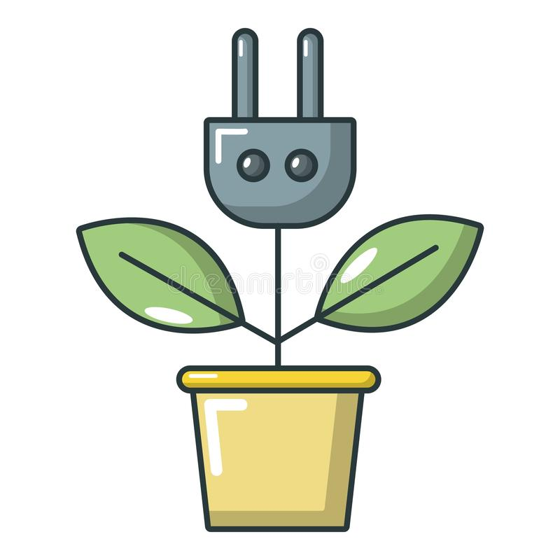 Plant in pot and plug icon, cartoon style royalty free illustration