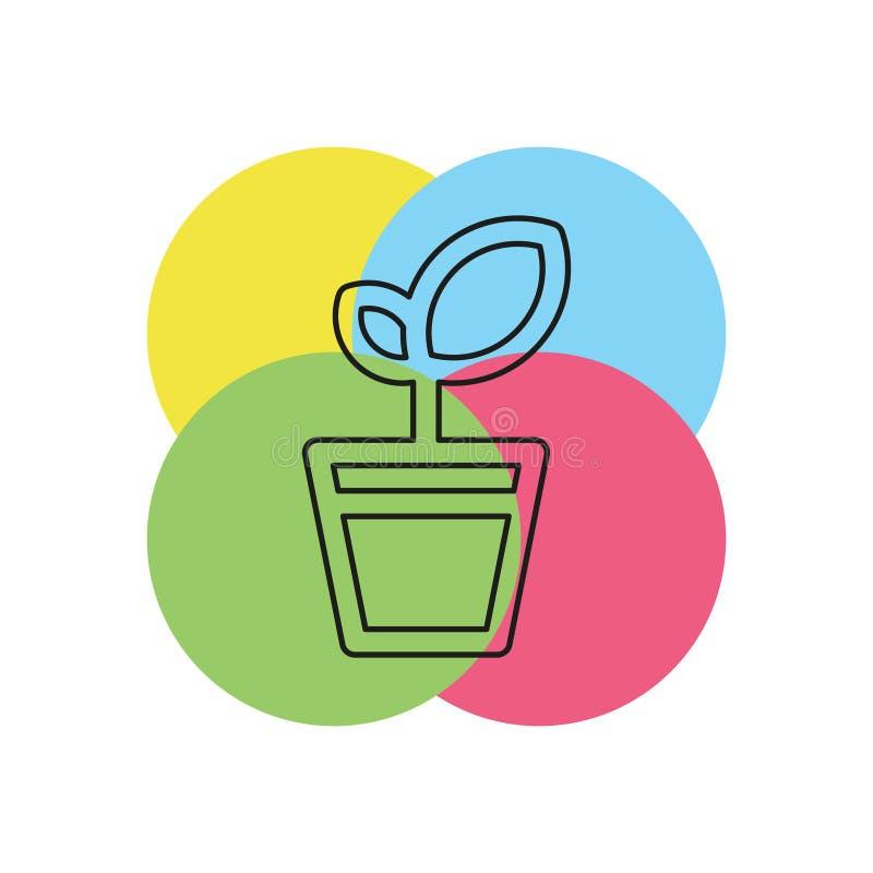 Plant pot vector icon. Plant pot icon, vector flower plant, gardening illustration. Thin line pictogram - outline stroke vector illustration