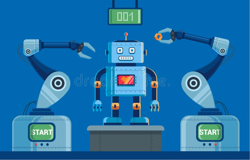 Plant for the production of robots with claws. from the scoreboard on top. vector illustration