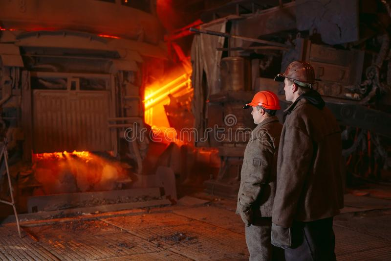 Plant for the production of steel. An electric melting furnace. Worker portrait stock photos
