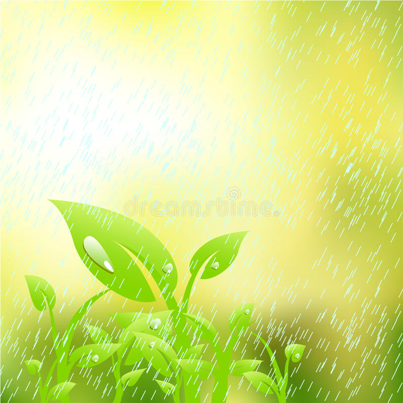 Download Plant in the rain stock vector. Illustration of grow, luck - 9507078