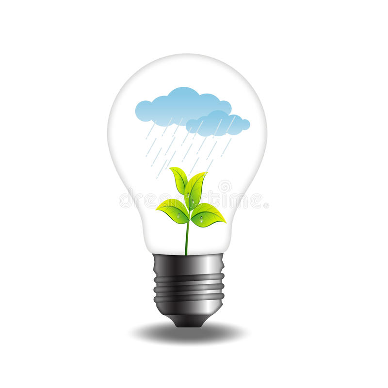 Plant with rainy cloud in bulb stock illustration