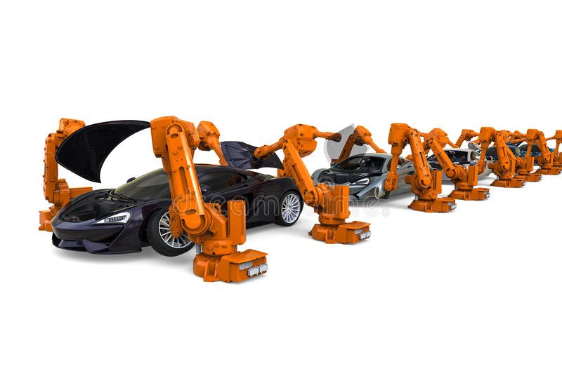 Plant robots. 3D render image representing an assembly line with automated robots vector illustration