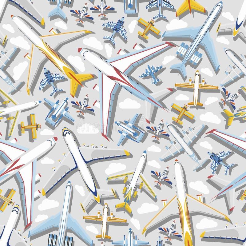 Plant sömlöst flyg för trans. för flyg för stråle för flygplan för modellvektorflygplan till flygplatsillustrationflyg royaltyfri illustrationer