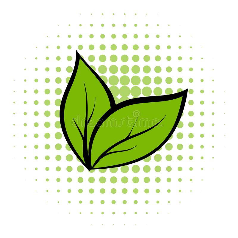 Plant seedling comics icon. Green leaves. Ecology symbol on a white background stock illustration