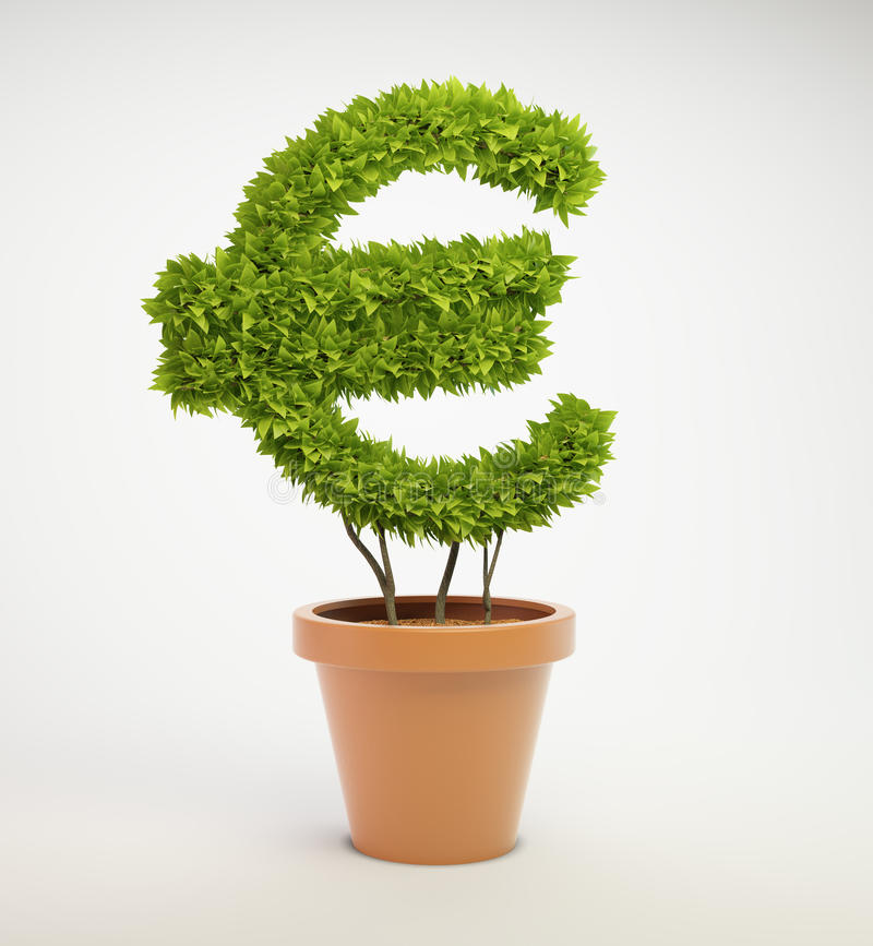 Download Plant Shaped Like A Euro Currency Symbol Stock Illustration - Illustration: 24956417