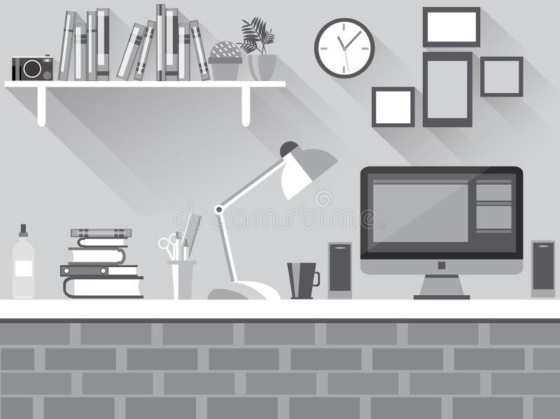 Plant skrivbord för mörker vektor illustrationer