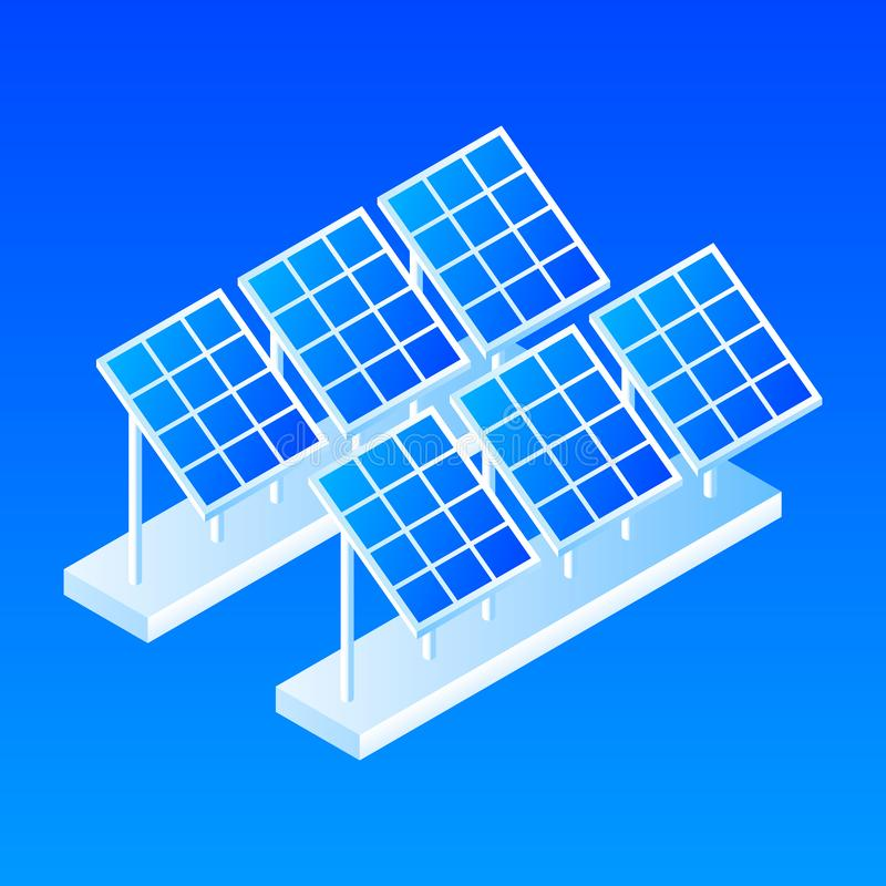 Plant of solar panel icon, isometric style. Plant of solar panel icon. Isometric of plant of solar panel vector icon for web design isolated royalty free illustration