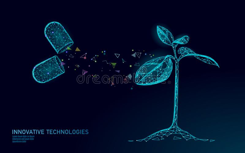 Plant sprout biotechnology abstract concept. 3D render seedling tree leaves DNA genome engineering vitamin supplement stock illustration