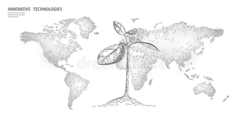 Plant sprout ecological abstract concept. 3D render seedling tree leaves. Save planet Earth nature environment grow life vector illustration