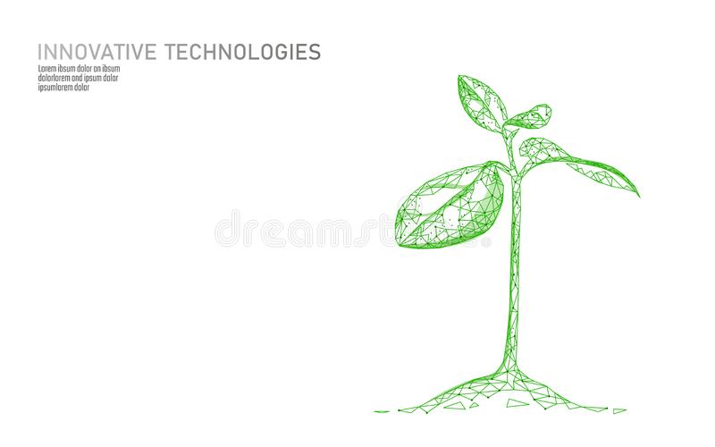 Plant sprout ecological abstract concept. 3D render seedling tree leaves. Save planet nature environment grow life eco. Polygon triangles low poly vector vector illustration