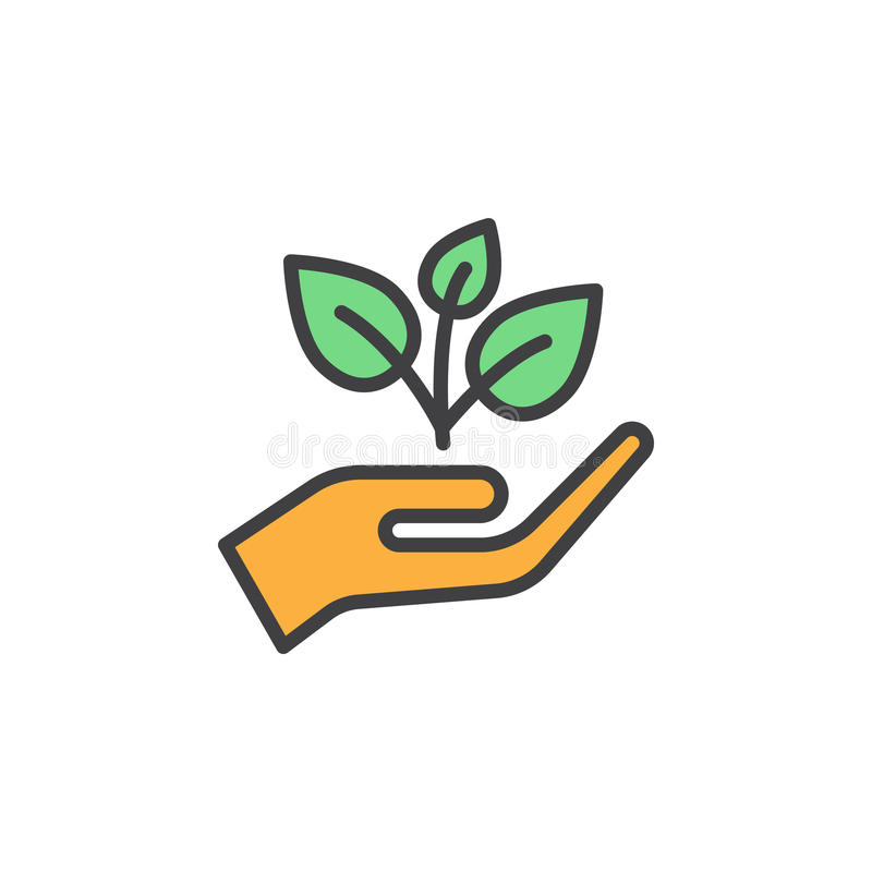 Plant, sprout in a hand filled outline icon, line vector sign, linear colorful pictogram royalty free illustration