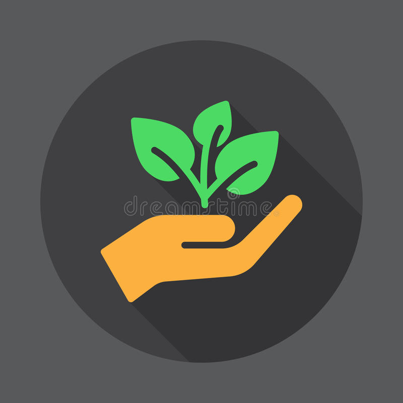Plant, sprout in a hand flat icon. Round colorful button, circular vector sign with long shadow effect. vector illustration