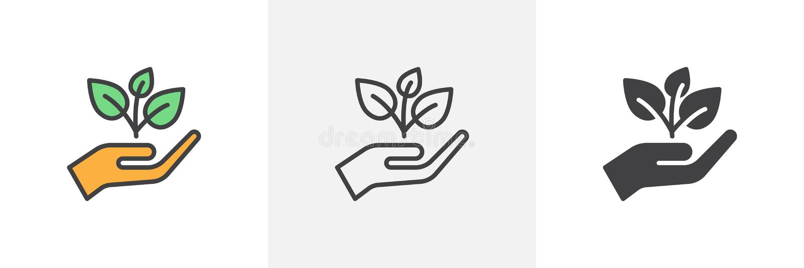Plant, sprout in a hand icon vector illustration