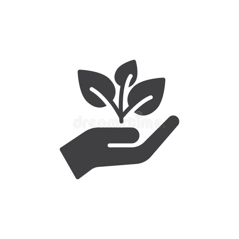 Plant, sprout in a hand icon vector, filled flat sign, solid pictogram isolated on white royalty free illustration