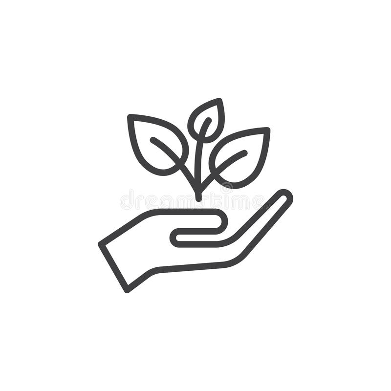 Plant, sprout in a hand line icon, outline vector sign, linear style pictogram isolated on white. Symbol, logo illustration. Editable stroke. Pixel perfect stock illustration