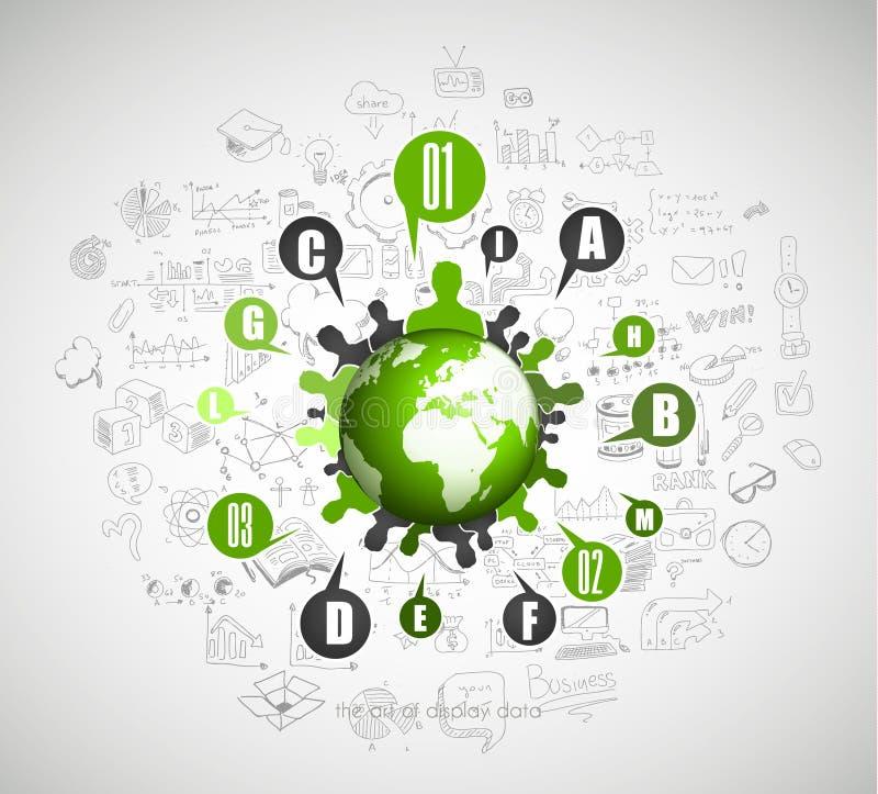 Plant stilbegrepp för socialt massmedia, dagordningorganisation royaltyfri illustrationer