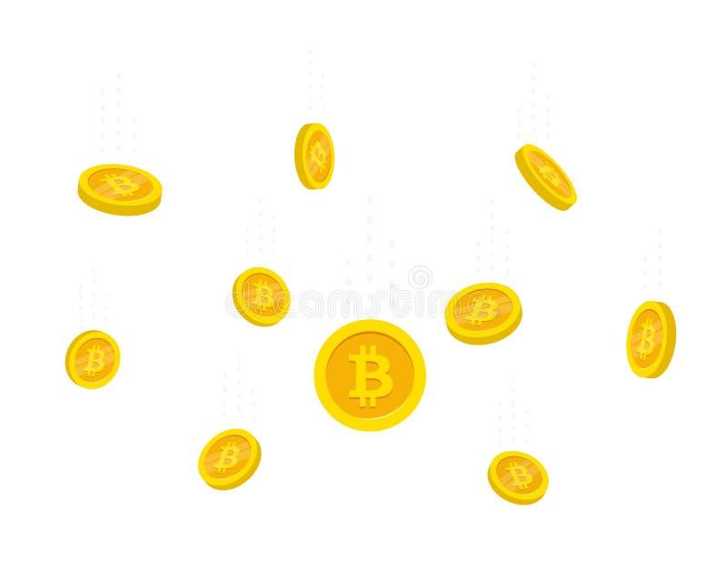 Plant stilflyg guld- Bitcoins som isoleras på vit bakgrund Myntar den fallande vektorillustrationen för pengar vektor illustrationer