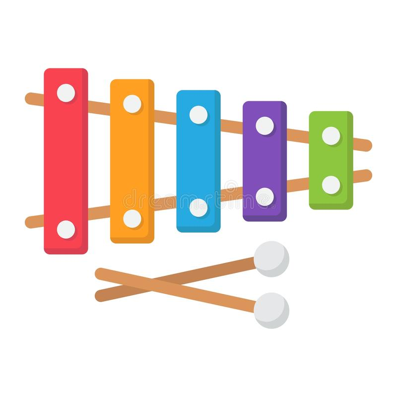 Plant symbol, musik och instrument för xylofon vektor illustrationer