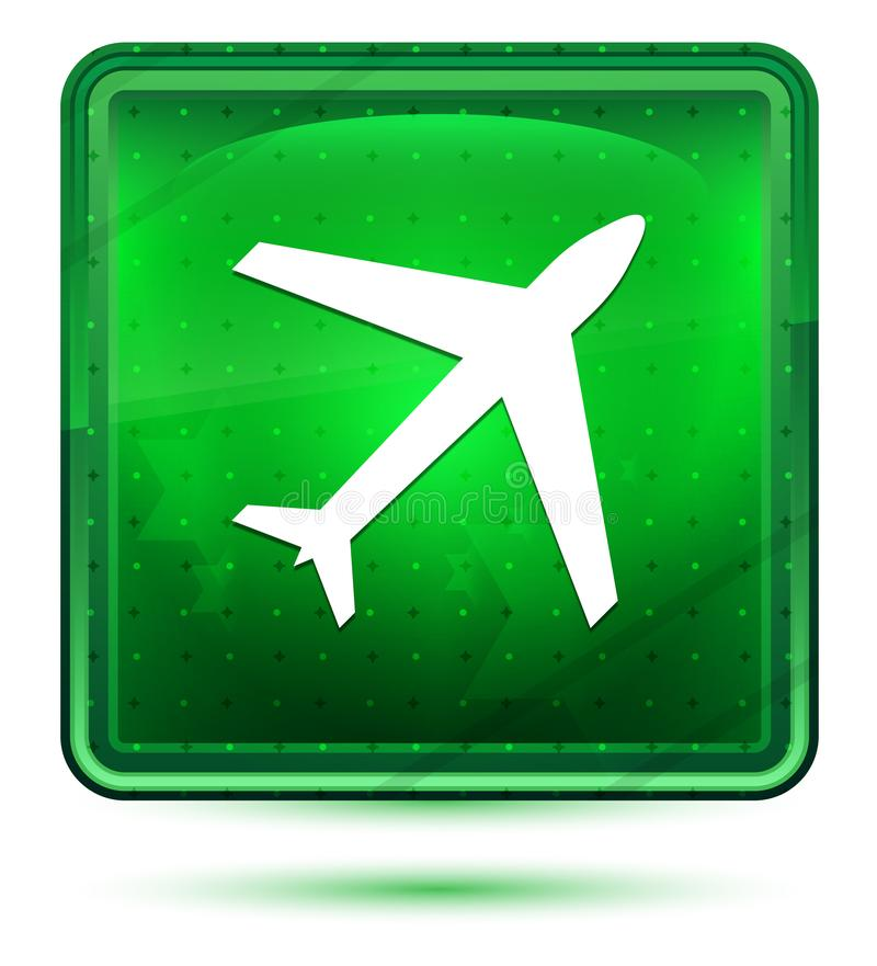 Plant symbolsneonljus - grön fyrkantig knapp royaltyfri illustrationer