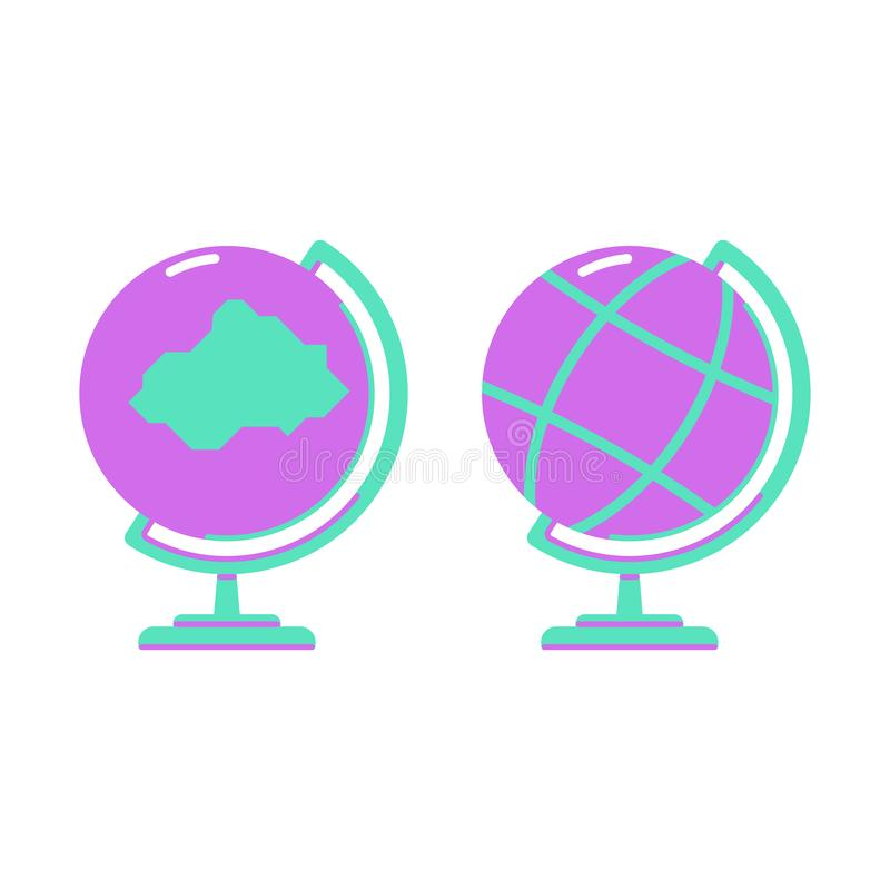 Plant symbolsskolajordklot Modell av jorden stock illustrationer