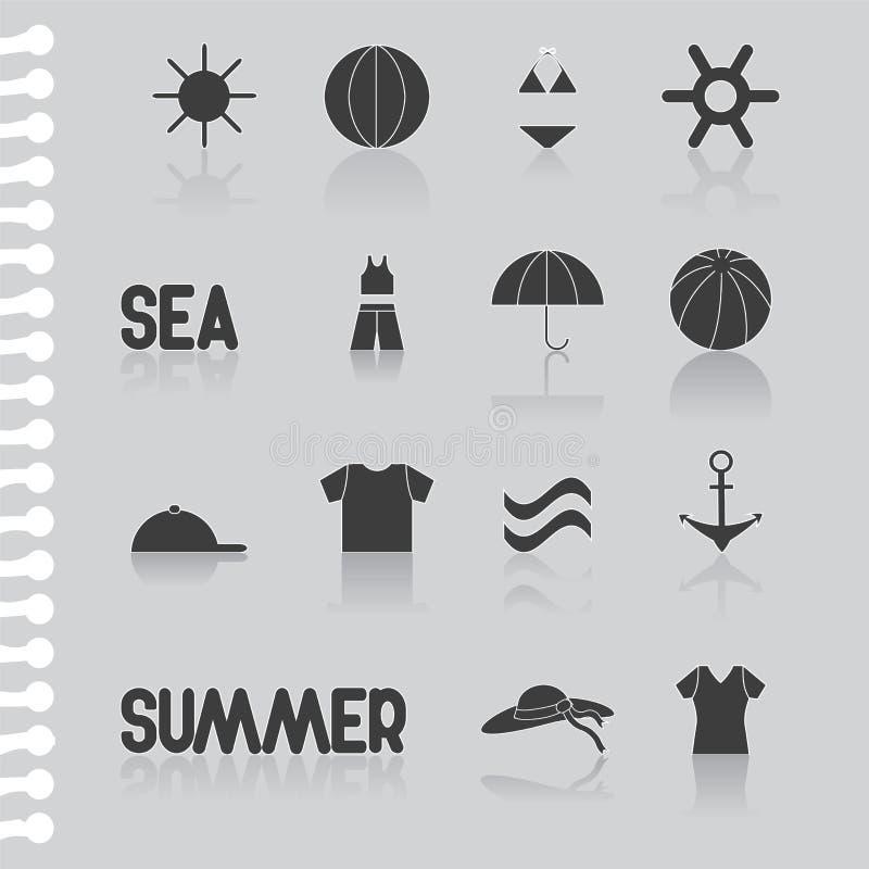 Plant symbolsuppsättning-symbol för sommar, datorsymbol materiel royaltyfri illustrationer