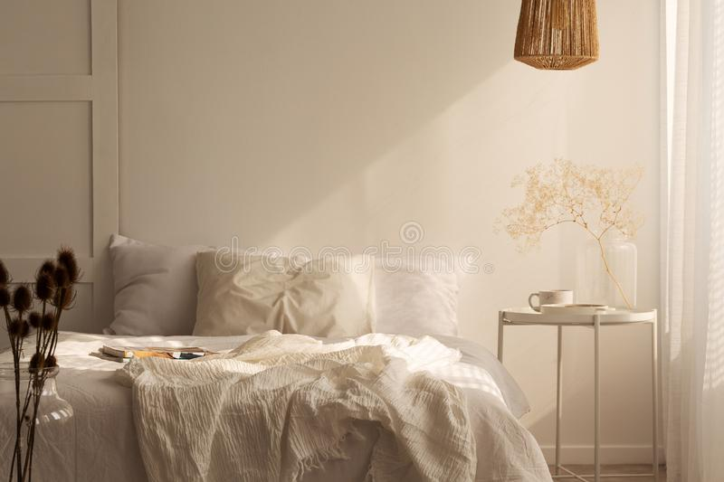 Plant on table next to bed with pillows and sheets in white simple bedroom interior. Real photo stock photography
