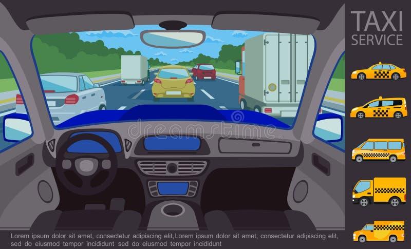 Plant taxiservicebegrepp royaltyfri illustrationer