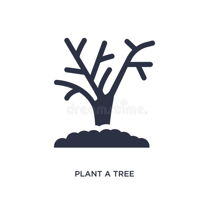 Plant a tree icon on white background. Simple element illustration from ecology concept. Plant a tree isolated icon. Simple element illustration from ecology royalty free illustration