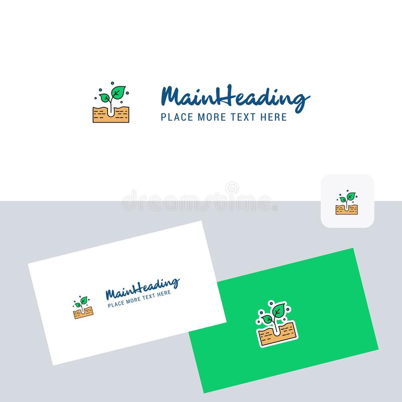 Plant vector logotype with business card template. Elegant corporate identity. - Vector. This Vector EPS 10 illustration is best for print media, web design stock illustration