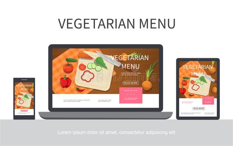 Plant vegetariskt menybegrepp stock illustrationer