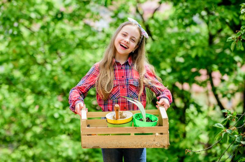 Plant veggies. Planting season. Popular garden care. Inspect garden daily spot insect trouble early. Gardening classes. Ecology education. Little girl planting stock photo